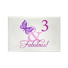 Fabulous 3rd Birthday For Girls Rectangle Magnet (