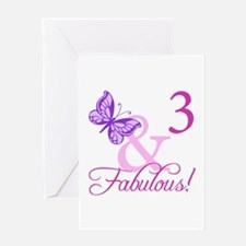 Fabulous 3rd Birthday For Girls Greeting Card