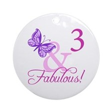 Fabulous 3rd Birthday For Girls Ornament (Round)