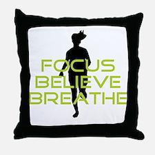 Green Focus Believe Breathe Throw Pillow