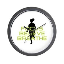 Green Focus Believe Breathe Wall Clock