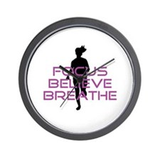 Purple Focus Believe Breathe Wall Clock
