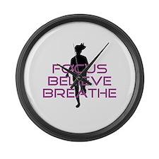 Purple Focus Believe Breathe Large Wall Clock
