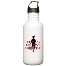 Red Focus Believe Breathe Water Bottle