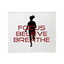 Red Focus Believe Breathe Throw Blanket