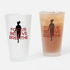 Red Focus Believe Breathe Drinking Glass