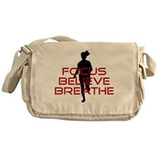 Red Focus Believe Breathe Messenger Bag