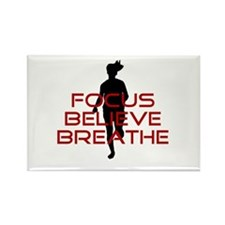 Red Focus Believe Breathe Rectangle Magnet