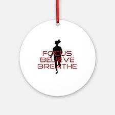 Red Focus Believe Breathe Ornament (Round)