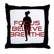 Red Focus Believe Breathe Throw Pillow