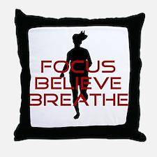 Red Focus Believe Breathe Throw Pillow