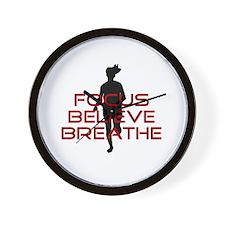 Red Focus Believe Breathe Wall Clock