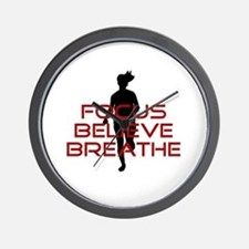 Red Focus Believe Breathe Wall Clock