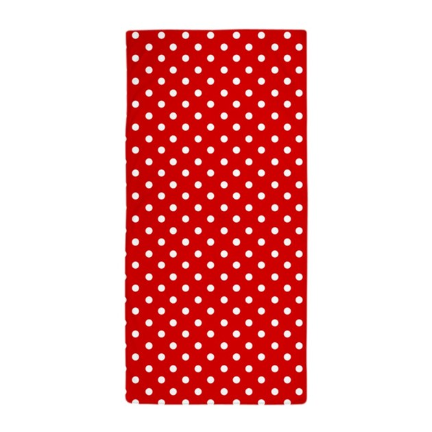 Red And White Polka Dot Beach Towel By Inspirationzstore