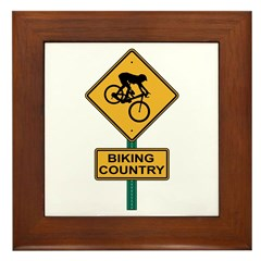 Biking Country Road Sign Framed Tile