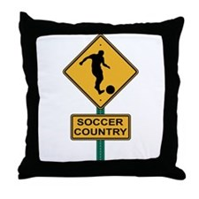 Soccer Country Road Sign Throw Pillow