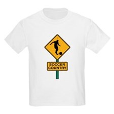 Soccer Country Road Sign Kids T-Shirt