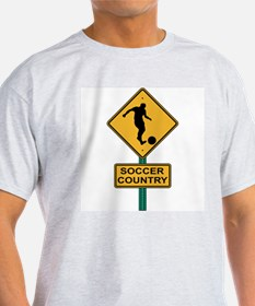 Soccer Country Road Sign Ash Grey T-Shirt