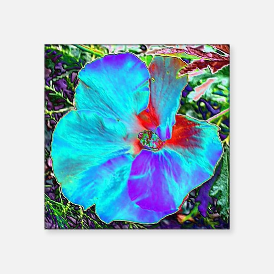 "Native Hibiscus flower in b Square Sticker 3"" x 3"""