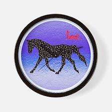 Horse Love and Hearts Wall Clock