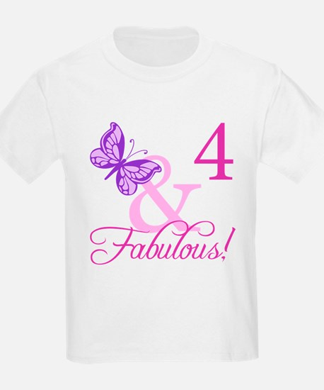 Fabulous 4th Birthday For Girls T-Shirt