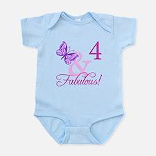 Fabulous 4th Birthday For Girls Infant Bodysuit