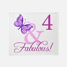 Fabulous 4th Birthday For Girls Throw Blanket