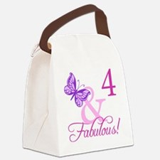 Fabulous 4th Birthday For Girls Canvas Lunch Bag