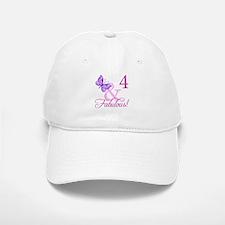 Fabulous 4th Birthday For Girls Baseball Baseball Cap