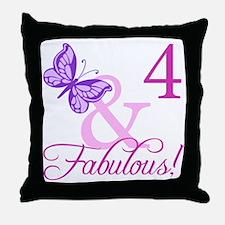 Fabulous 4th Birthday For Girls Throw Pillow