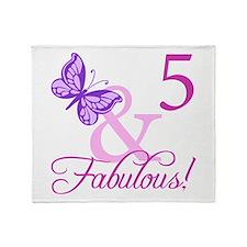 Fabulous 5th Birthday For Girls Throw Blanket