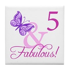 Fabulous 5th Birthday For Girls Tile Coaster