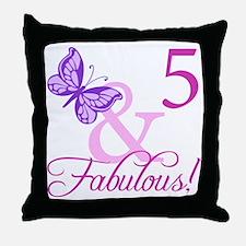 Fabulous 5th Birthday For Girls Throw Pillow