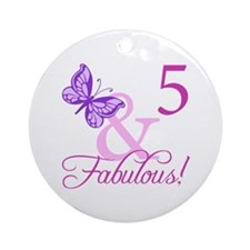 Fabulous 5th Birthday For Girls Ornament (Round)