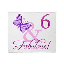 Fabulous 6th Birthday For Girls Throw Blanket
