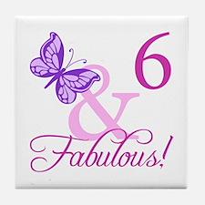 Fabulous 6th Birthday For Girls Tile Coaster