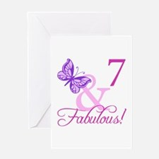 Fabulous 7th Birthday For Girls Greeting Card