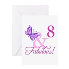 Fabulous 8th Birthday For Girls Greeting Card