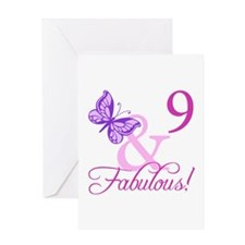 Fabulous 9th Birthday For Girls Greeting Card