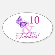 Fabulous 10th Birthday For Girls Sticker (Oval)