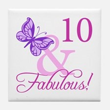 Fabulous 10th Birthday For Girls Tile Coaster
