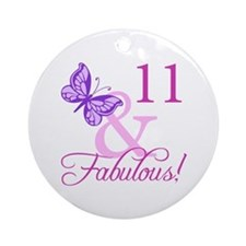 Fabulous 11th Birthday For Girls Ornament (Round)