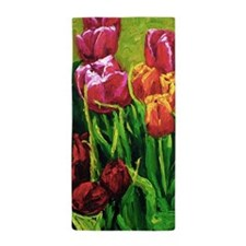 Tulip Watercolor Painting Beach Towel