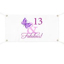 Fabulous 13th Birthday For Girls Banner