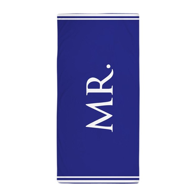 Blue His Half Of Mr And Mrs Beach Towel Set By