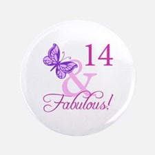 """Fabulous 14th Birthday For Girls 3.5"""" Button"""