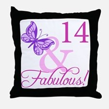 Fabulous 14th Birthday For Girls Throw Pillow
