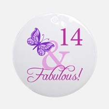Fabulous 14th Birthday For Girls Ornament (Round)