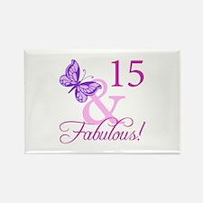 Fabulous 15th Birthday For Girls Rectangle Magnet