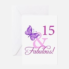 Fabulous 15th Birthday For Girls Greeting Card